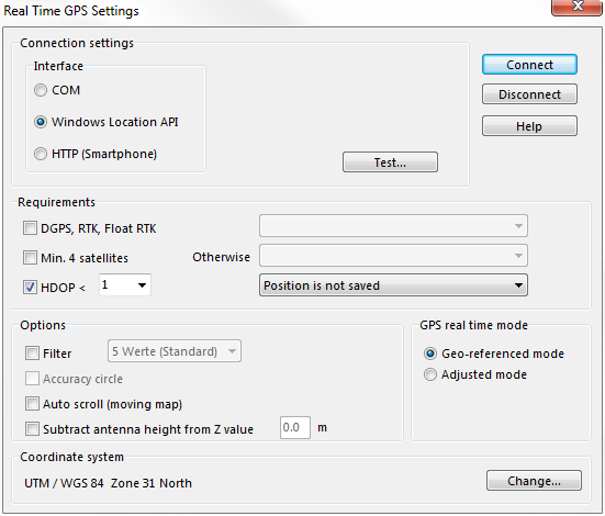 Choose Windows Location API in the new Interface group box.