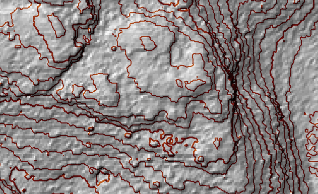 1m contour lines with hill shading