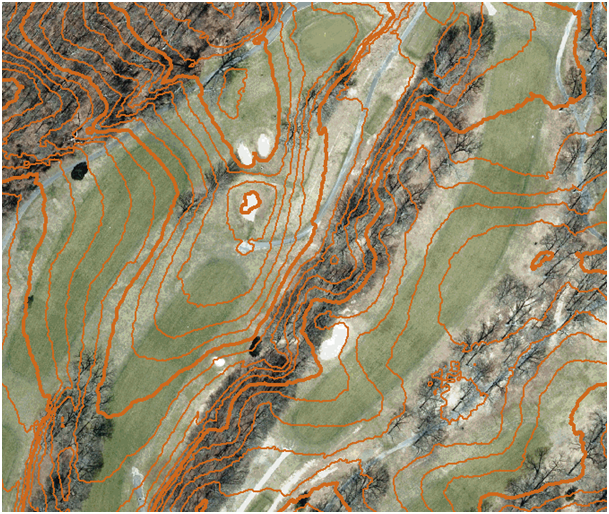 Result: The calculated contour lines from the DEM fit with the loaded orthophoto.