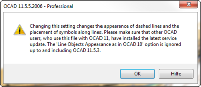 Line appearance option change warning
