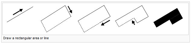 Draw a rectangular area or line